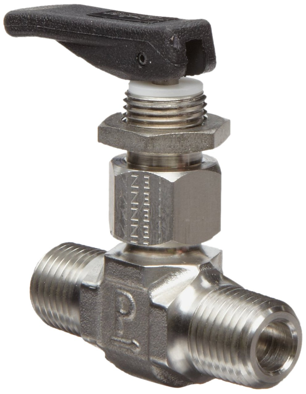 Parker VQ Series Stainless Steel 316 Toggle Valve, Inline, Toggle Handle, PTFE Stem, 1/4'' NPT Male