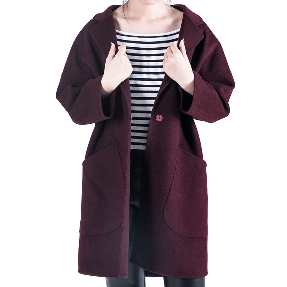 OYEAHGIRL Women Wool Winter Coats Long Sleeve Suit Style Classic Outerwear (S, Claret)