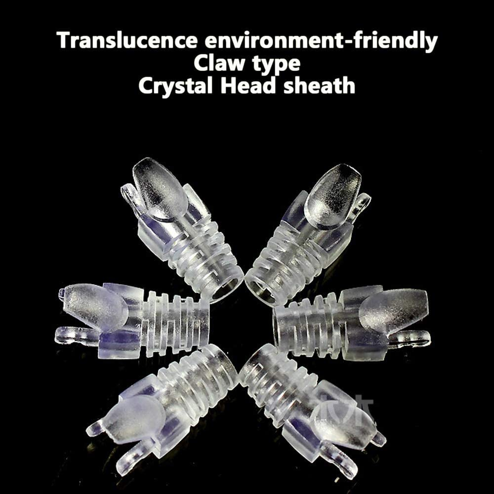 ShineBear 100PCS Translucence Transparent Environment-Friendly CAT5e Crystal Head Claw Sheath Network Cable Protective Sleeve Paws Jacket Cable Length: CAT5e