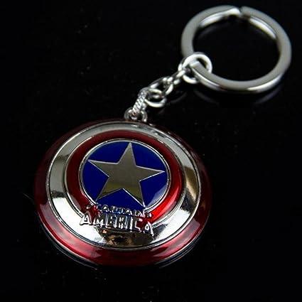 Top Brand Llavero de Super héroe Capitán América Llavero de Metal Colgante