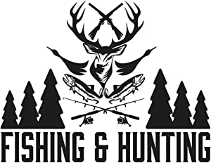 Hunting and Fish Vinyl Wall Decals - Removable Fishing Hunting Store Shop Wall Decor Art Vinyl Sticker - Dear Duck Fish Wall Decal for Men Boy Woomen - Custom Color