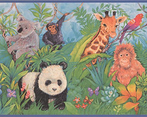 Jungle Panda Tiger Monkey Coala Giraffe Parrot Hunter Zebra Wallpaper Border Retro Design, Roll 15' x 9