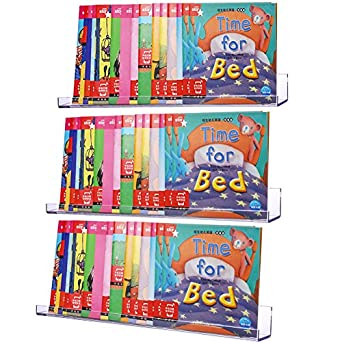 sooyee 3 pack acrylic invisible floating bookshelf 15 inchkids clear wall bookshelves display book - Kids Wall Bookshelves