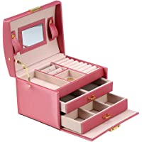 Jewelry Storage Box with Lock Mirror, 3 Layers PU Leather Earring Necklace Ring Cufflink Brooch Jewelry Display Case Organizer Portable Travel Home Use Gift for Girls Women