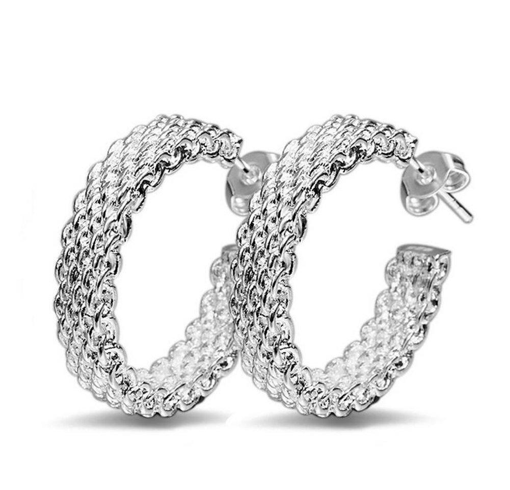 Scrox 1 Pair Fashion Earrings Shiny Elegant Silver Earrings Women Girls Earrings Ear Studs Beautiful and charming Jewelry Accessories Gift Design (Silver Elegant Mesh Earrings)