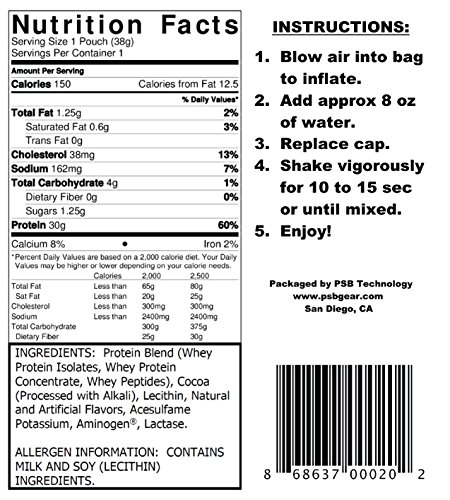 PSB GEAR - WHEY PROTEIN. PRE-FILLED SHAKER POUCH. CASE OF 24 - CHOCOLATE. Add water, shake, and drink. 30 grams of protein. by PSB (Image #3)