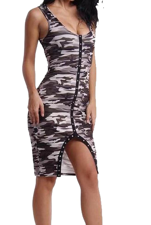 XTX Women's Sleeveless Camouflage Printed Bodycon Dress