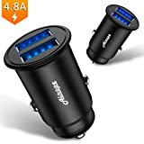 Car Charger, 4.8A/ 24W Dual USB Port Car Charger Adapter Thumb-Sized Mini Aluminum Fast Charging Power Fit for iPhone X/ 8/ 7/ 6s/ Plus, iPad Air 2/ mini 3, Samsung Galaxy S9/ S8/ S7 - Black (1 Pack)