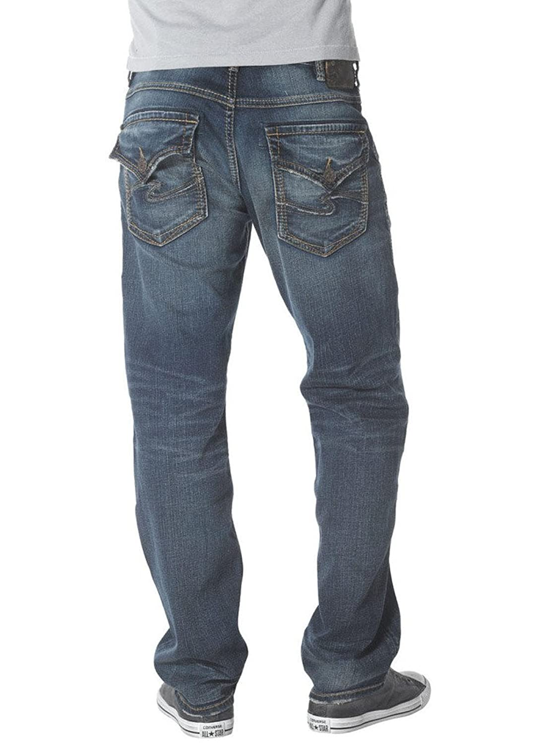 Silver Jeans Men Zac Flap Relaxed Fit Straight Leg Light Distressed in Blue Wash