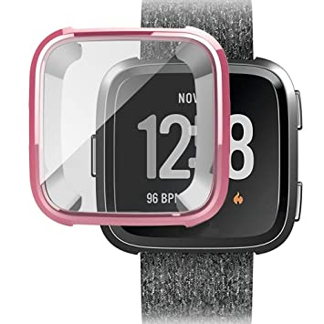 Pink Tuscom 2 Pack TPU Plated Screen Protector Rugged Cover Full Coverage Protective Bumper Shell for Fitbit Fitbit Versa Lite Smartwatch Compatible with Fitbit Versa Lite Screen Protector Case
