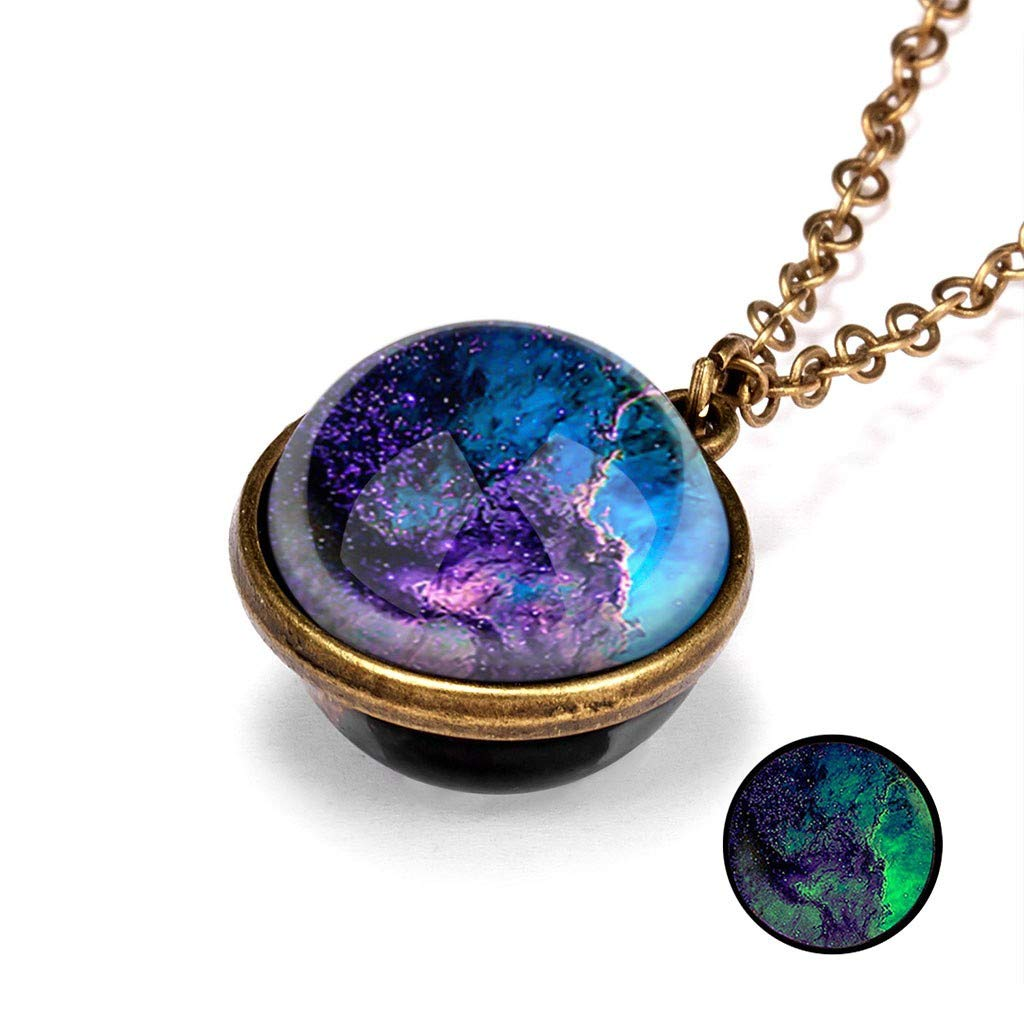 JoCome✨ Planet Necklace, Galaxy System Double Sided Glass Dome Glow in The Dark Star Necklace Pendant (B)