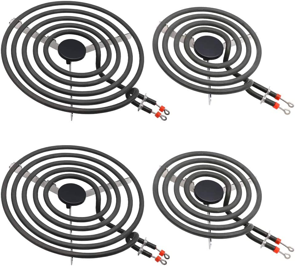 """MP22YA Electric Range Burner Element Unit Set(4Pack)-2 x MP21YA 8"""" and 2 x MP15YA 6"""" Compatible with Whirlpool,KitchenAid,Maytag Electric Range Stove"""