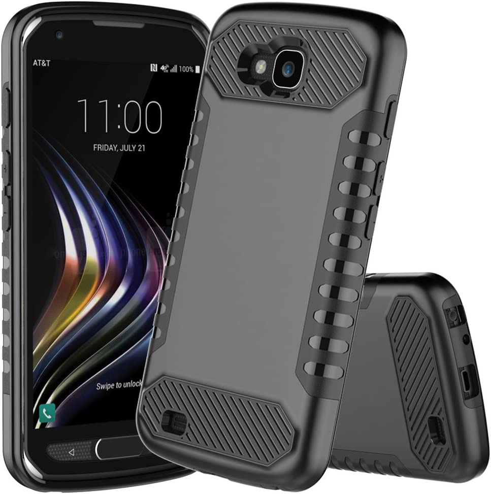 LG X Venture/XCalibur / V9 Case, JDB Heavy Duty Defender Shock Absorption Impact Resistant Protection Hybrid with Flexible Inner Protection and Reinforced Case for LG V9 Case - Black