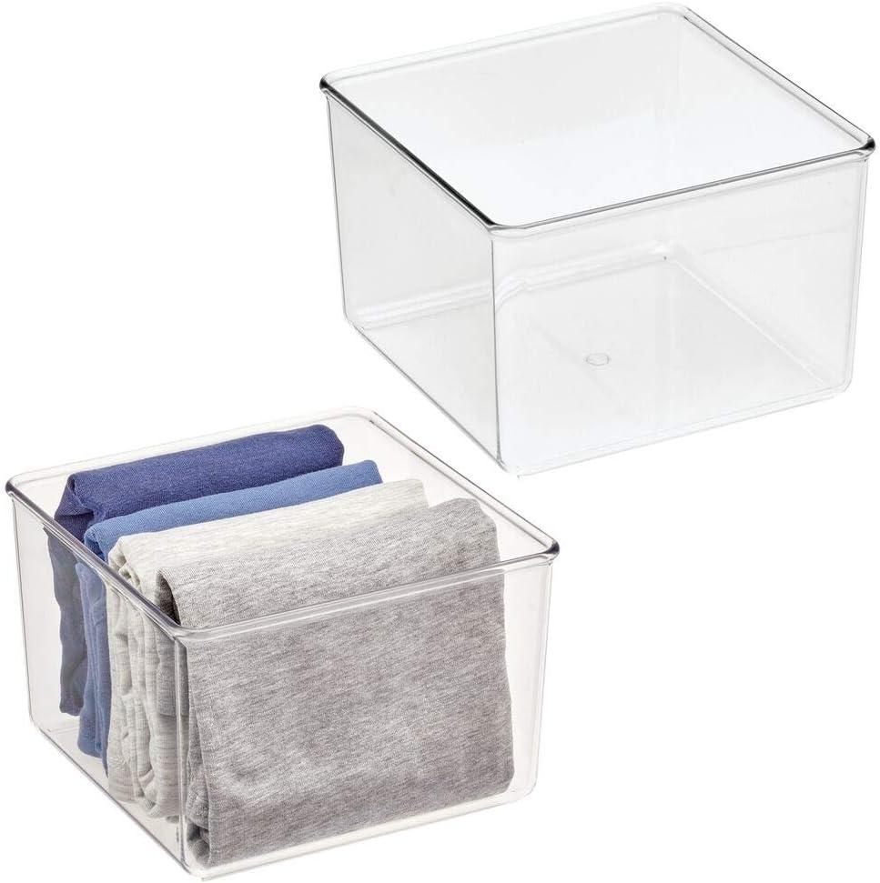 mDesign Juego de 2 cajas organizadoras transparente Pr/áctico organizador de pl/ástico sin BPA para armarios del dormitorio o ba/ño Fant/ástica caja para ropa o cosm/éticos