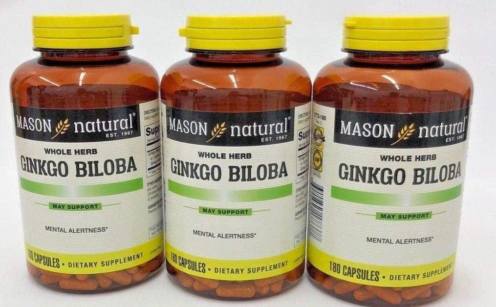 Mason Vitamins Ginkgo Biloba 500 mg 180 Gelatin Capsules per Bottle, Pack of 3 Bottles Total 540 Capsules