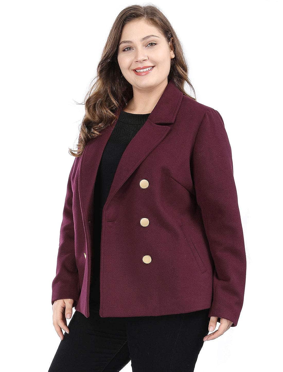 50f596b85d769 Amazon.com  Agnes Orinda Women s Plus Size Double Breasted Winter Peacoat Notched  Lapel Coat  Clothing