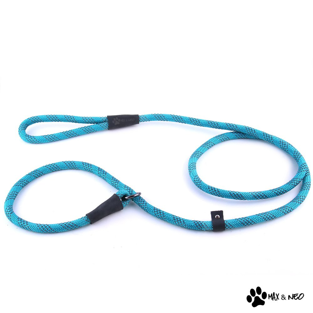 Max and Neo Rope Slip Lead Reflective 5 Foot - We Donate a Leash to a Dog Rescue for Every Leash Sold (TEAL, 5FT X 1/2'')