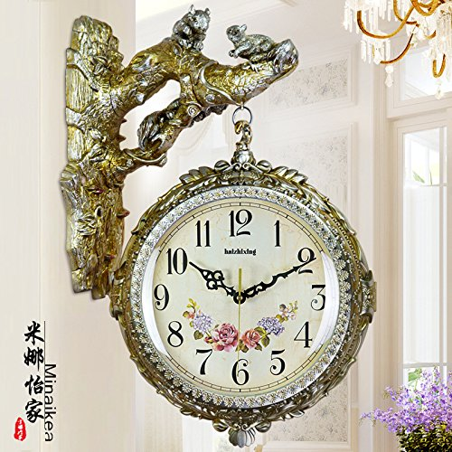 AYYA Creative personality clocks Europe and the United States retro double-sided clock creative personality watch decoration large mute 8824 ancient silver PP surface by AYYA