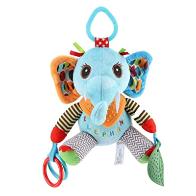 Baby Crib Rattle Toy Toddler Cartoon Animal Hanging Toys for Bed Stroller Infant Plush Decoration Doll with Teether Mirror(Elephant) : Baby
