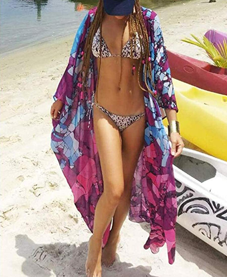 Lazzon Women Cardigan Beach Bikini Coverup Boho Printed Kimono Maxi Long Swimwear Beachwear Chiffon Sundress