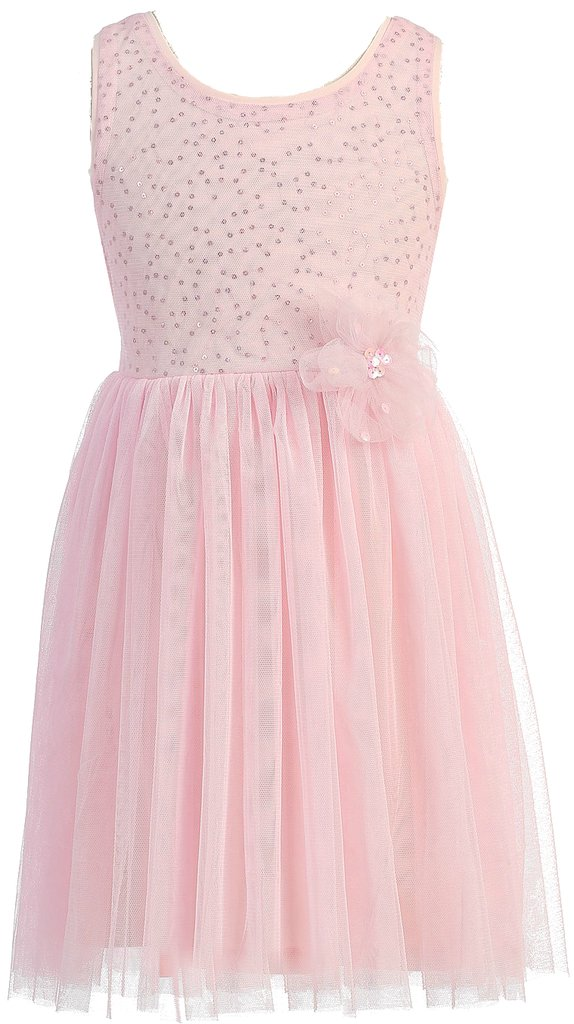 AkiDress Sleeveless Sequins Bodice with Tulle Skirt for Little Girl Pink 4
