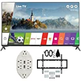 """LG 49"""" Super UHD 4K HDR Smart LED TV 2017 Model (49UJ7700) with Transformer Tap USB w/ 6-Outlet Wall Adapter and 2 Ports & Deco Mount Slim Flat Wall Mount Ultimate Bundle Kit for 32-60 inch TVs"""