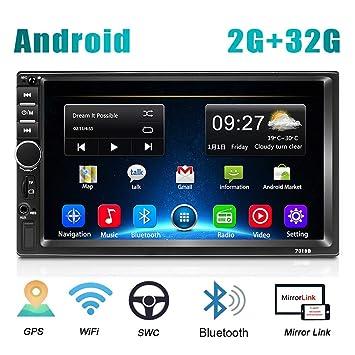 C/ámara Trasera 2 DIN Android Radio Coche GPS CAMECHO 7 Pulgadas Pantalla t/áctil capacitiva Bluetooth WiFi USB FM Reproductor est/éreo para autom/óvil Enlace de Espejo