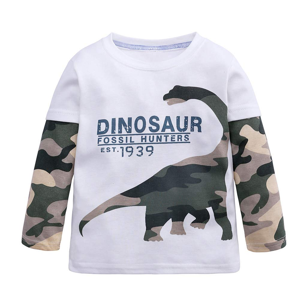 GoodLock Baby Boys Girls Fashion Tops Toddler Infant Cartoon Dinosaur Camouflage Tops T-Shirt Clothes (White, 5-6 Years)