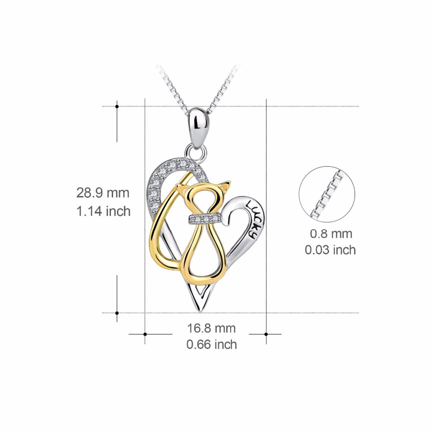 CS-DB Womens Necklaces by Silver Pendant Girls Love Heart Gold Color Cat Hollow Charm
