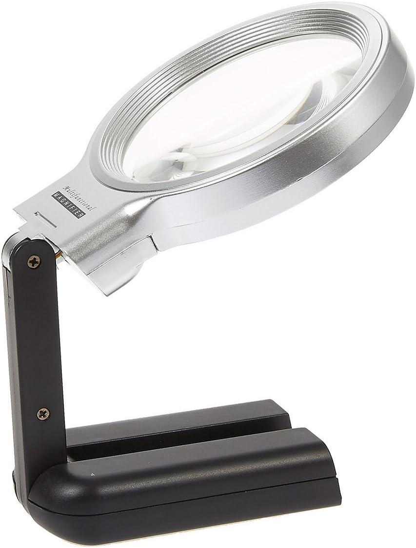 manualidades lente con soporte plegable Port/átil o manos libres reparaci/ón de relojes Lupa con luces LED para lectura Hanguang Lupa Plegable joyer/ía