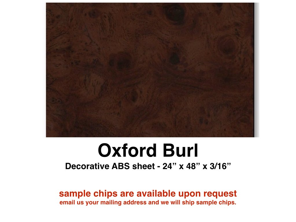 "Boat Dash Panel Blanks, Boat Instrument Panel Blanks / 24 x 48 x 3/16"" plastic woodgrain / Oxford Burl"