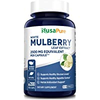 White Mulberry Leaf Extract 2500 mg 200 Veggie Caps ( Vegetarian, Non-GMO & Gluten-Free) Supports Healthy Glucose Levels…