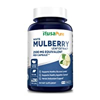 White Mulberry Leaf Extract 2500 mg 200 Veggie Caps ( Vegan, Non-GMO & Gluten-Free) Supports Healthy Glucose Levels, Supports Healthy Weight Management*