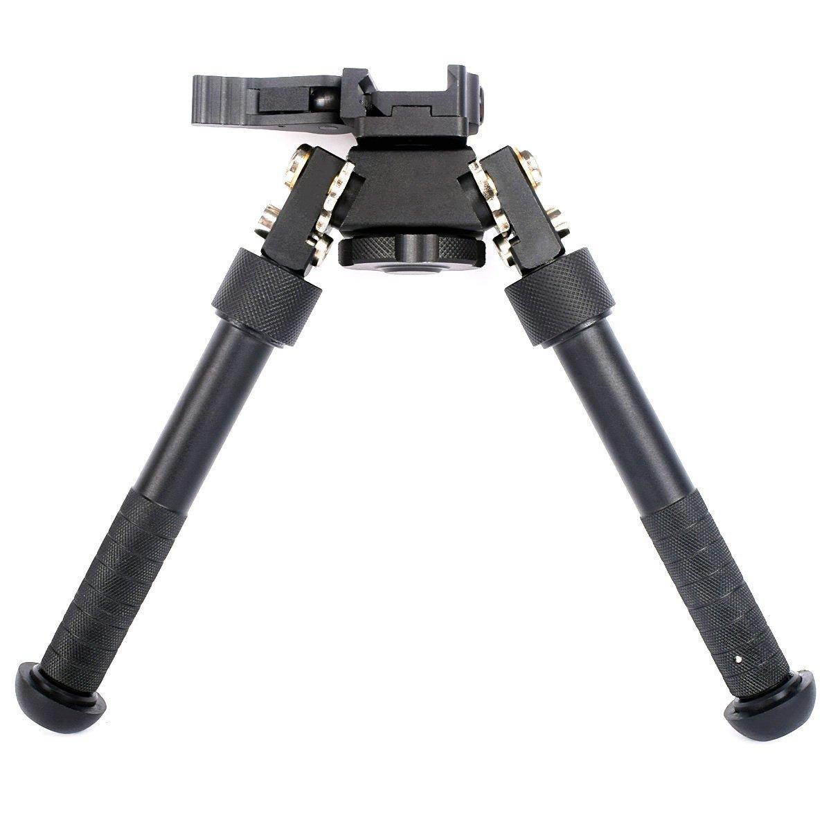 Rifle Bipod CNC QD Tactical Picatinny Rail Bipod Flat Adjustable (Black) by CRUSHUNT