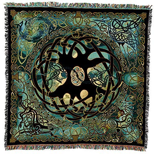 Pure Country Weavers - Irish Celtic Woven Blanket | Tree of Life Tapestry Woven Spirit Animals Cotton USA 54x54