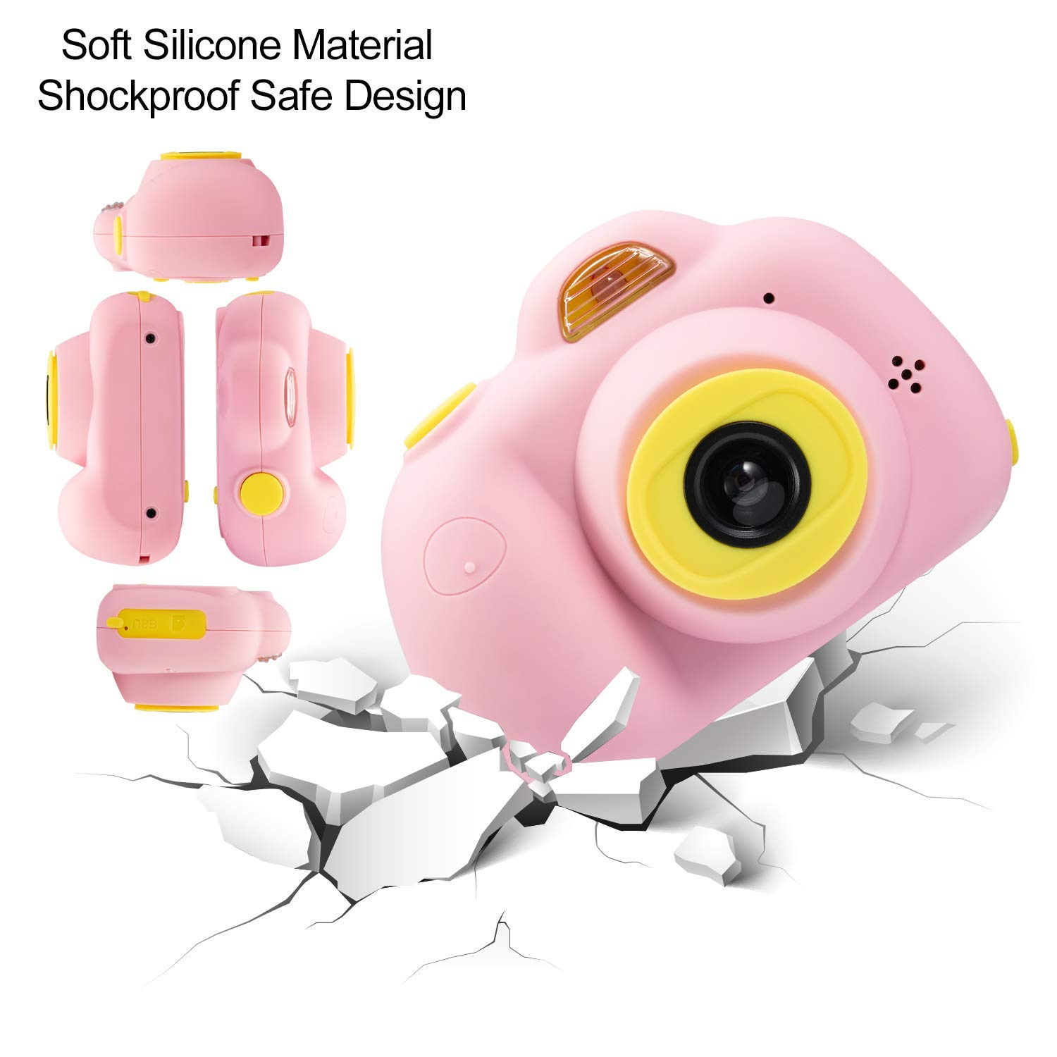 Kids Camera, Dual Cameras 8MP Rechargeable 1080p HD Kids Video Cameras Shockproof Kids Digital Cameras - Best Gift for 4-10 Years Old Girls Boys Party Outdoor Play 16GB TF Card Included (Pink) by Egoelife (Image #6)