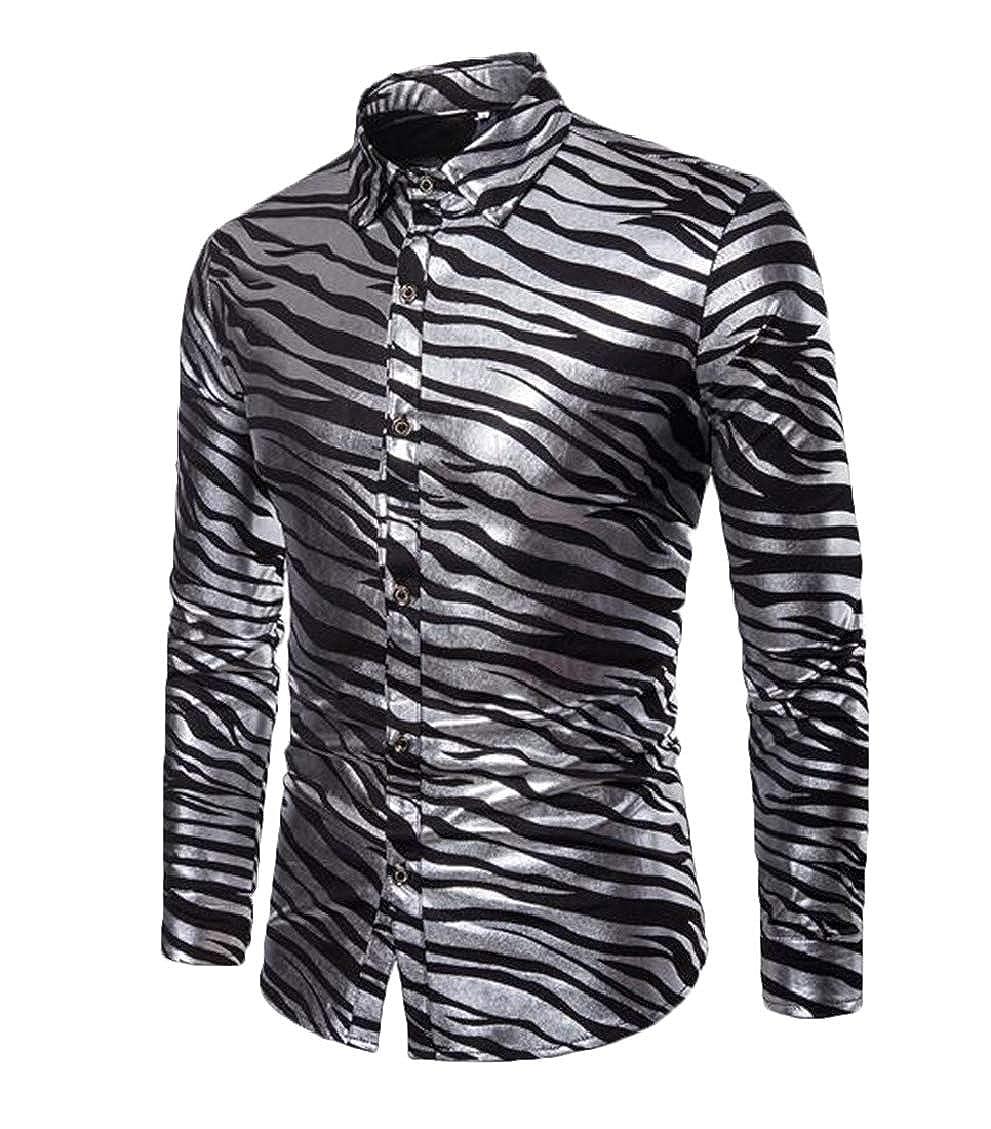 Spirio Men Long Sleeve Printed Button Down Stripe Lapel Dress Work Shirt