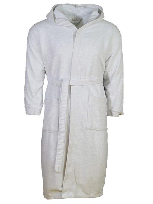 albornoz mullido pijama Transwen Albornoz de sauna unisex para hombre y mujer con capucha camis/ón de noche