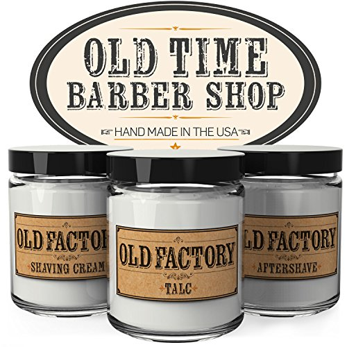 Scented Candles for Men - Old Time Barber Shop - Set of 3: Shaving Cream, Talc, Aftershave - 3 x 4-Ounce Soy Candles - Each Votive Man Candle is Handmade in the USA - Perfect Mens Gift Leather Gift Set After Shave