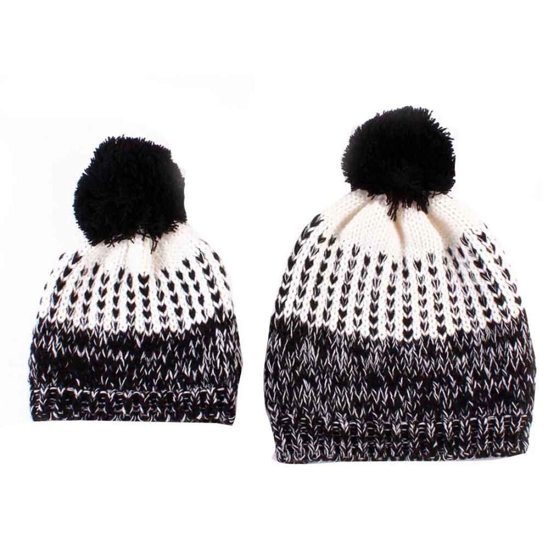 Gotd Mom and Baby Knitting Cap Winter Warm Hat Hemming Beanie (Matching Black)