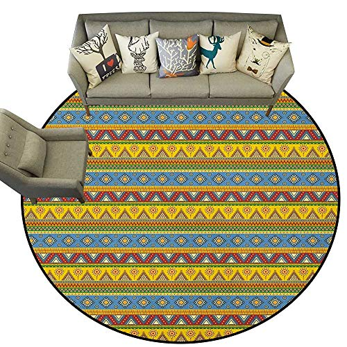 Mexican,Rugs for Living Room Traditional Native American Aztec Borders with Geometric Artistic Figures Vintage D78 Baby Crawling Area Mats