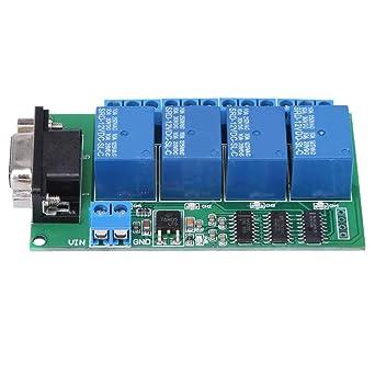 Tarjeta de relés, 12V 4Ch DB9 RS232 Tarjeta de relés Control ...