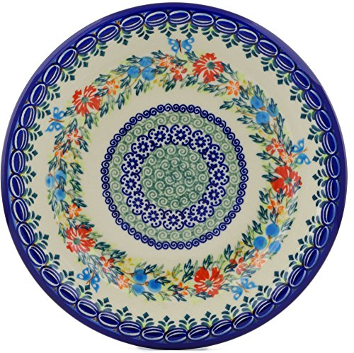 Polish Pottery 9-inch Pasta Bowl (Red Cornflower And Blue Butterflies Theme) Signature UNIKAT + Certificate of Authenticity