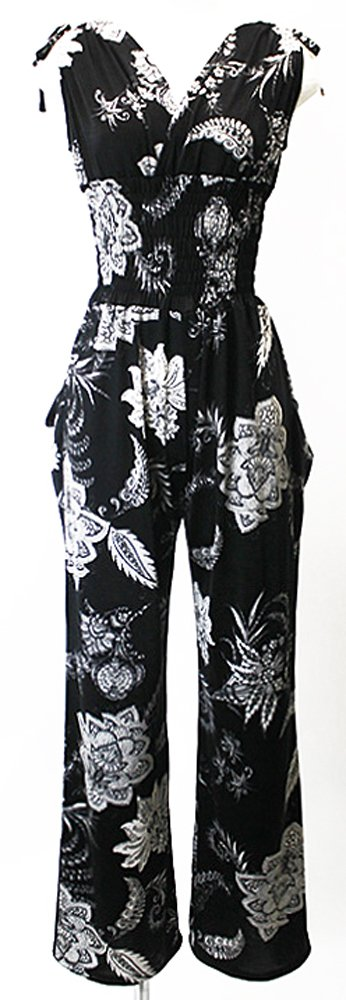 Italian Black Floral Printed Women's Salopette Jumpsuit Made in JAPAN