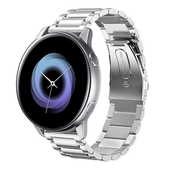 Sundaree Compatible con Correa Galaxy Watch Active/Gear S2 Classic,20MM Metal Acero Inoxidable Reemplazo Correa Pulsera con Metal Corchete para ...