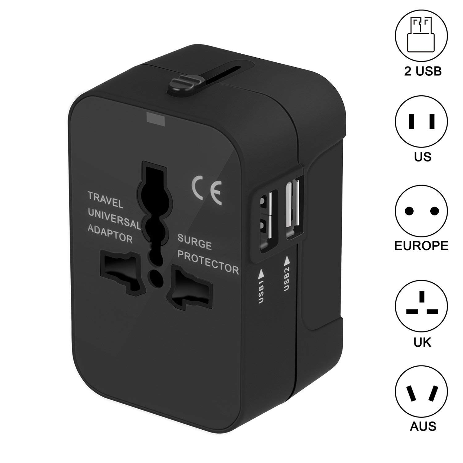 Travel Adapter - Worldwide All in One Universal Power Converters Wall AC Power Plug Adapter Power Plug Wall Charger with Dual USB Charging Ports for USA EU UK AUS Cell Phone Laptop (Black)
