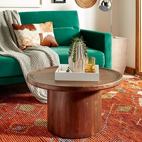 Masterpiece Collection Pedestal - Safavieh COF6600B Home Collection Devin Dark Brown Round Pedestal Coffee Table, Oak