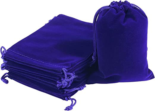 20pcs Velvet Jewelry Bags, 4.7 X 6.7 inch Blue Cloth Gift Drawstring Pouches Baggies Sacks for Dice Ornament