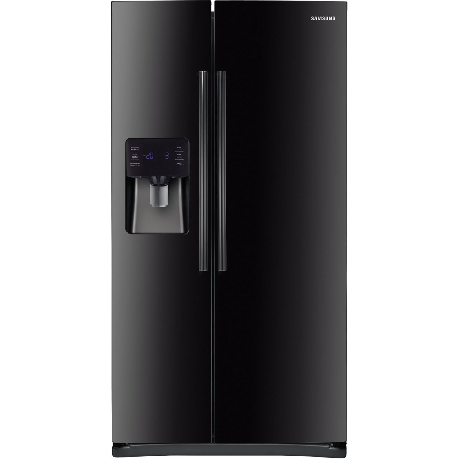 Samsung RS25H5111BC Energy Star 24.5 Cu. Ft. Side-by-Side Refrigerator/Freezer with External Water/Ice Dispenser and In-Door Ice Maker, Black