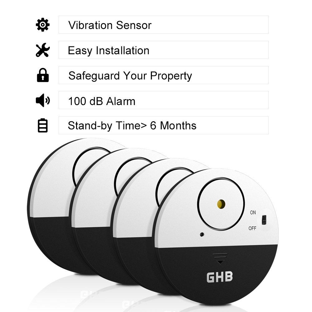 Ghb 4 Pcs Window Alarm Vibration Shock Sensors Home Security With